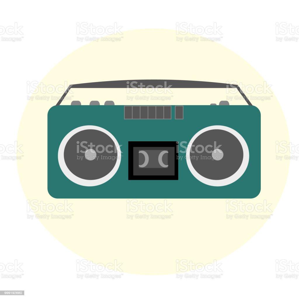 Retro tape recorder. Vector vector art illustration