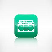 Retro tape recorder.Application button.