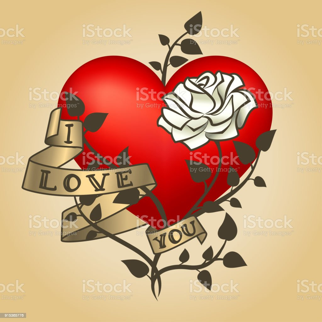 Retro Tattoo Heart With Gold Ribbons Happy Valentines Day Card