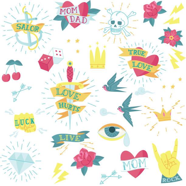 retro tattoo pattern wallpaper vector art illustration