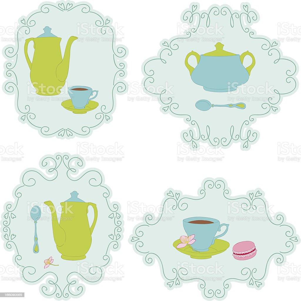 Retro tea time sticker set royalty-free retro tea time sticker set stock vector art & more images of blue