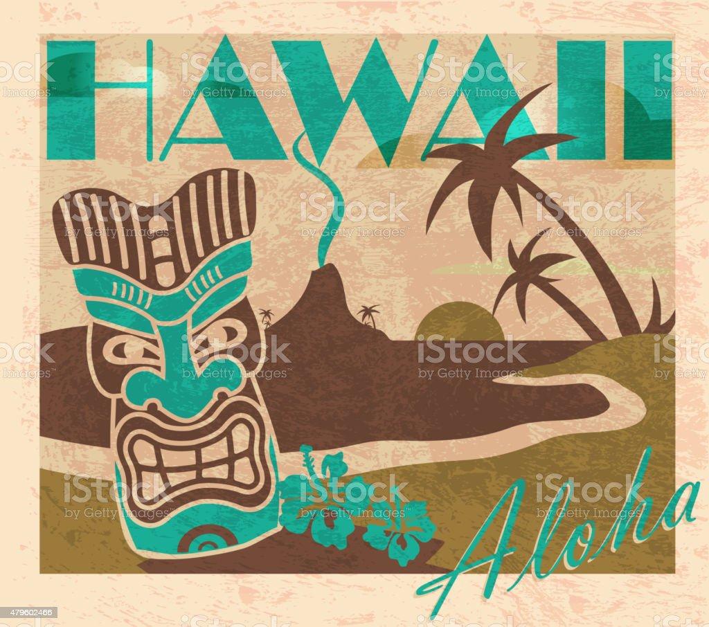 Cerceta De Verano Retro Bar Tiki Hawaiian Diseño De Plantilla De ...