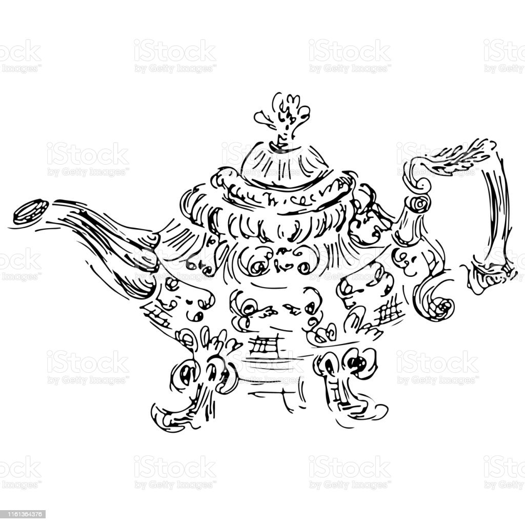 Retro teapot hand drawn, great design for any purposes. Teapot hand...