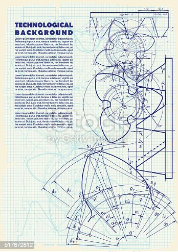 Old technical background, gear on graph paper craft and space for your text.