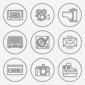 Retro Technology 3 Circle Round Icon Set. Line Design Vector Illustrations.