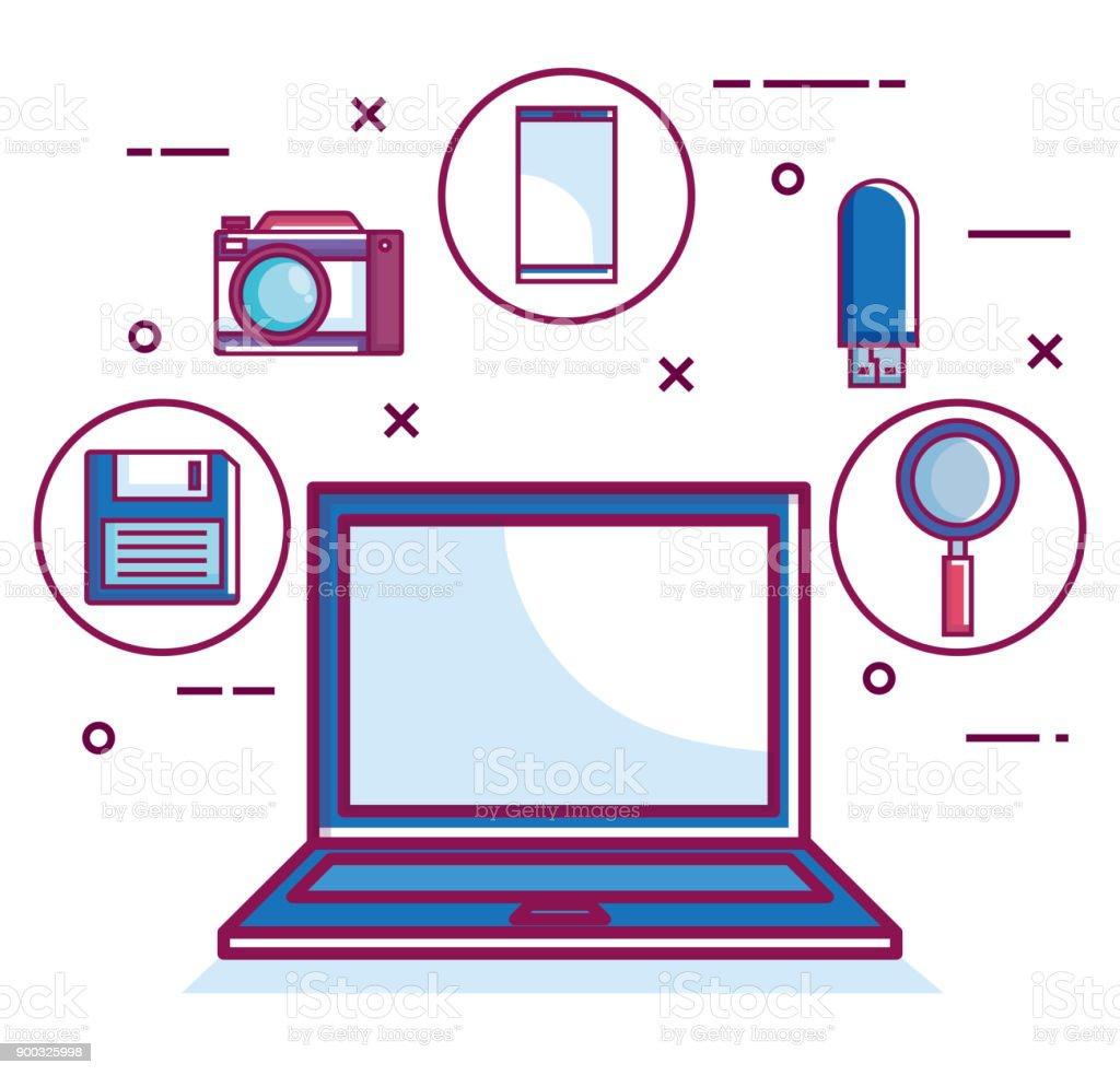 Retro-Technologie gesetzt gadgets – Vektorgrafik