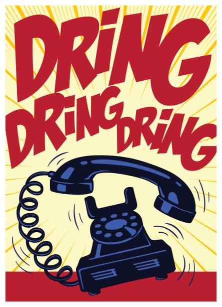 Retro telephone ringing vintage pop art comic book vector illustration vector art illustration