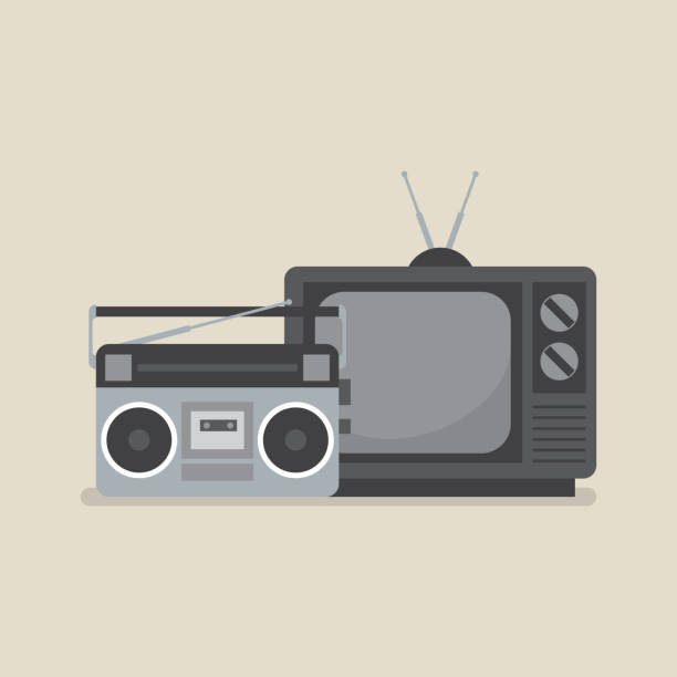 Retro television and radio vector art illustration