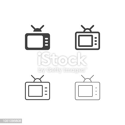 Retro Television Icons Multi Series Vector EPS File.