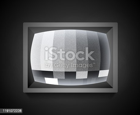 Retro television static tv error screen test pattern with static noise.