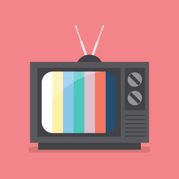 retro television with color frame - телевизионная индустрия stock illustrations