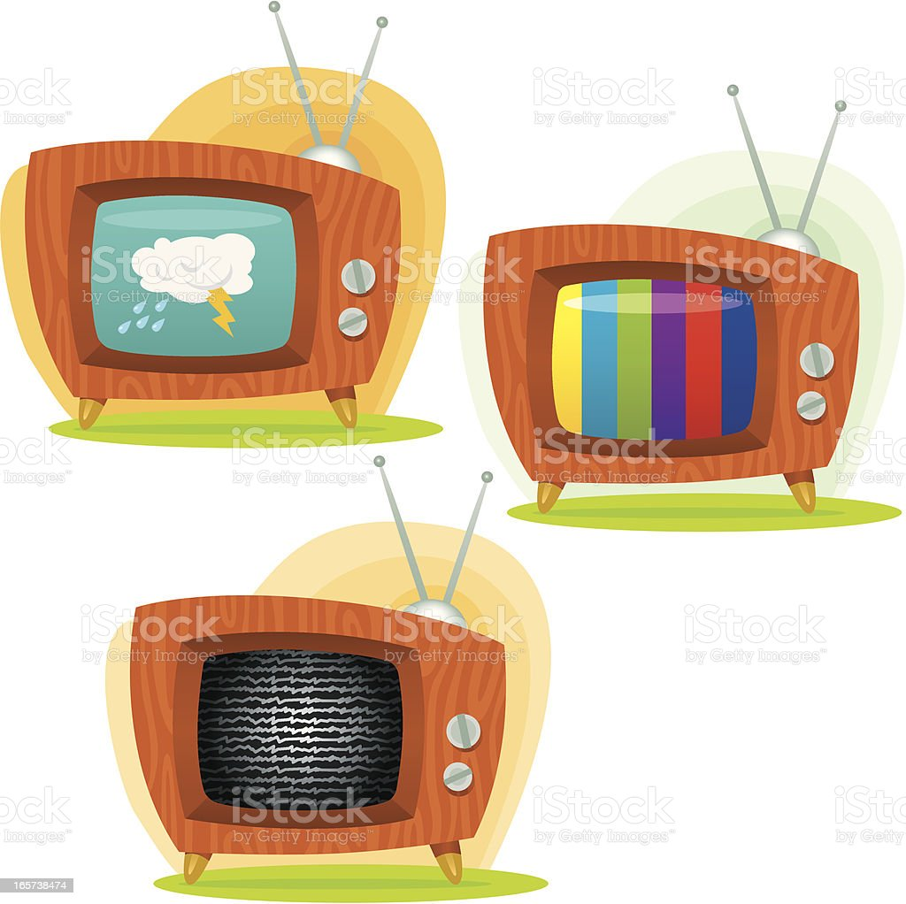 Retro Televisions vector art illustration