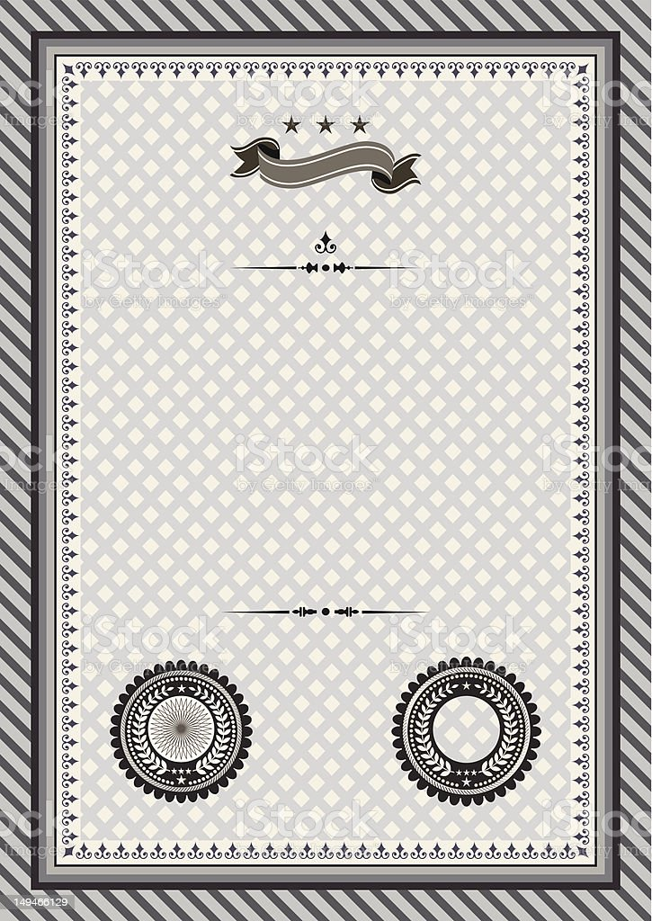 Retro template certificate with seals vector art illustration