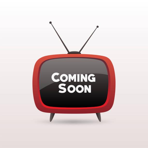retro-tevision mit dem kommenden bald titel auf dem bildschirm isoliert auf weißem hintergrund. - film oder fernsehvorführung stock-grafiken, -clipart, -cartoons und -symbole