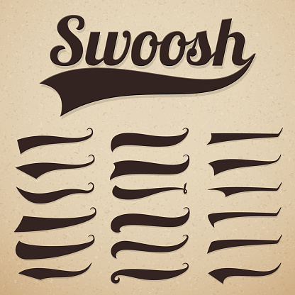 Retro texting tails. Swooshes swishes, swooshes and swashes for vintage baseball vector typography