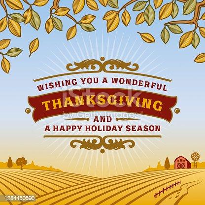 istock Retro Thanksgiving Greeting Card 1284450590