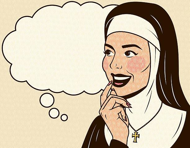ilustraciones, imágenes clip art, dibujos animados e iconos de stock de retro excelentes monja - hermana