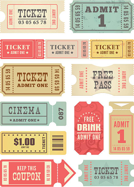 Retro Tickets Collection  admit one stock illustrations