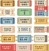 Retro tickets in a collection of colors