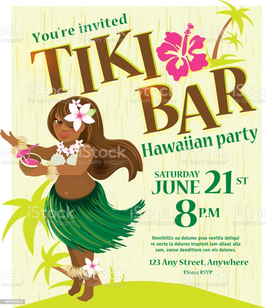 Retro Tiki Bar Hawaiian Party Invitation With Cute Hula Girl stock ...