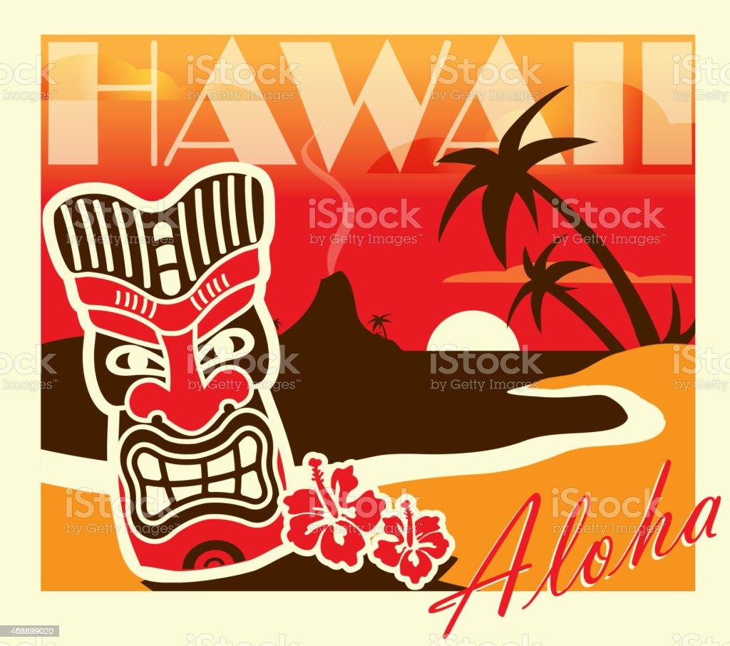 Ilustración de Bar Tiki Hawaiian Fiesta Retro Diseño Plantilla De ...