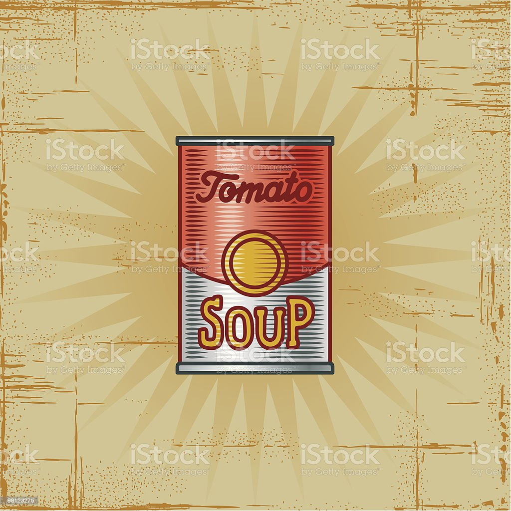 Retro Tomato Soup Can vector art illustration