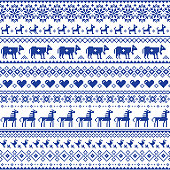 Navy blue symmetric floral decoration with birds, horses and dogs, old textile ornament