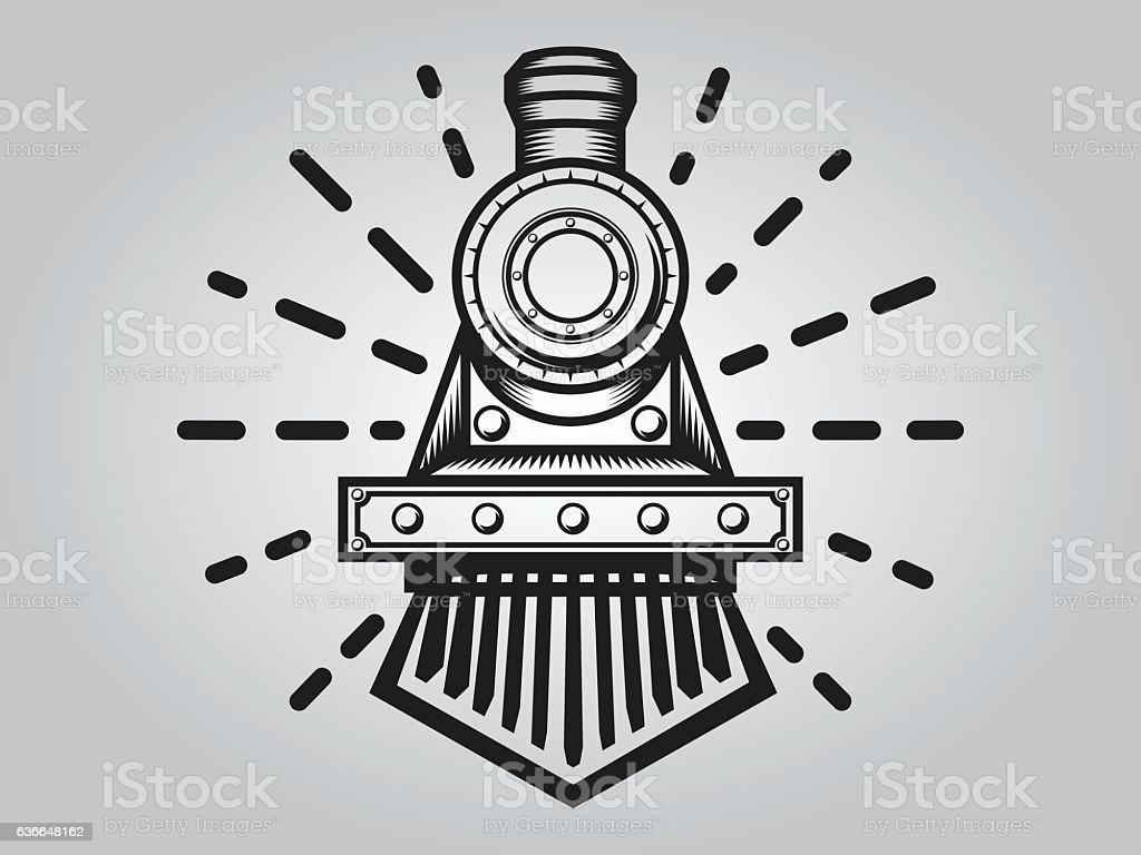 Retro train vector art illustration