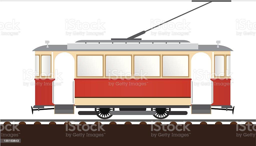 retro tram vector art illustration