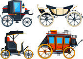 Retro transport carriage. Vector pictures of carriages. Collection of retro cart, chariot victorian illustration