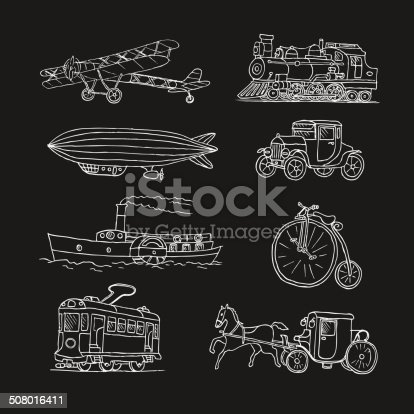 Retro transport. Old times. Airplane, locomotive, zeppelin, automobile, steamboat, bicycle, tram, diligence. Vector. Isolated on a black  background. Doodles. Sketch.