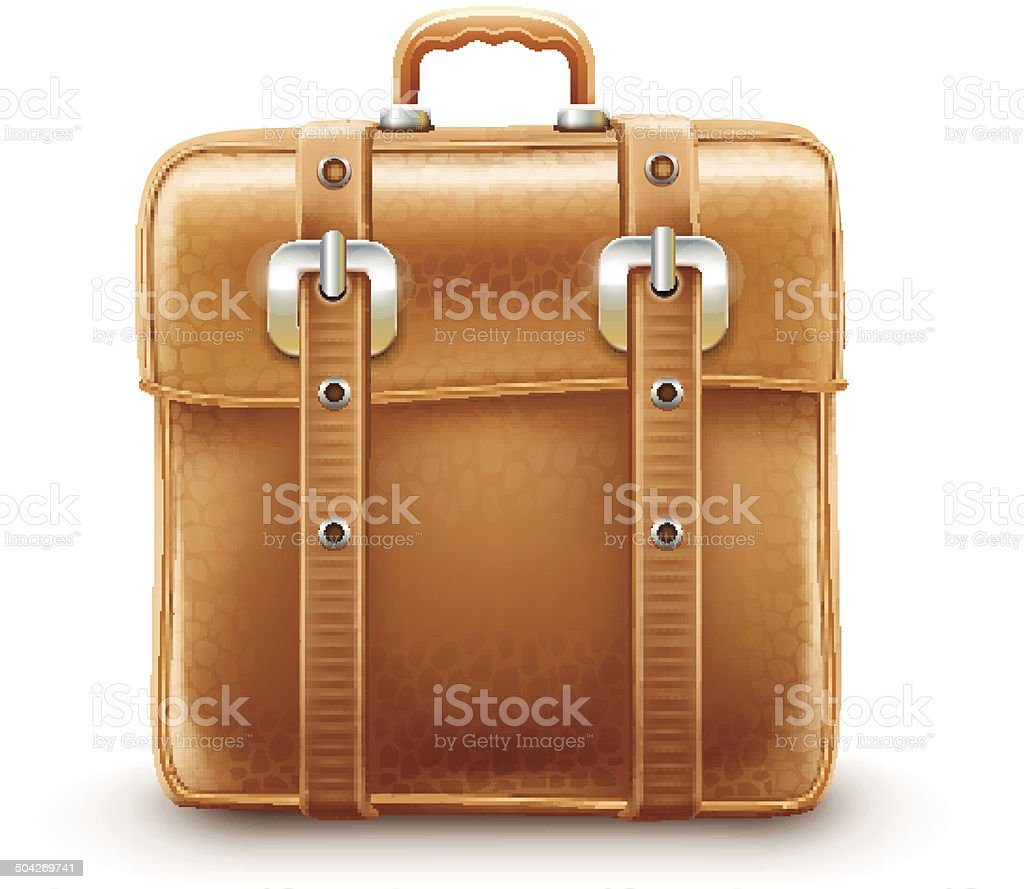 Retro travel bag made with leather  belts royalty-free stock vector art