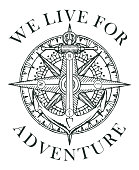 Retro banner with ship anchor, wind rose and old nautical compass with words We live for adventure. Vector black and white illustration, logo or t-shirt design on the theme of travel and discovery