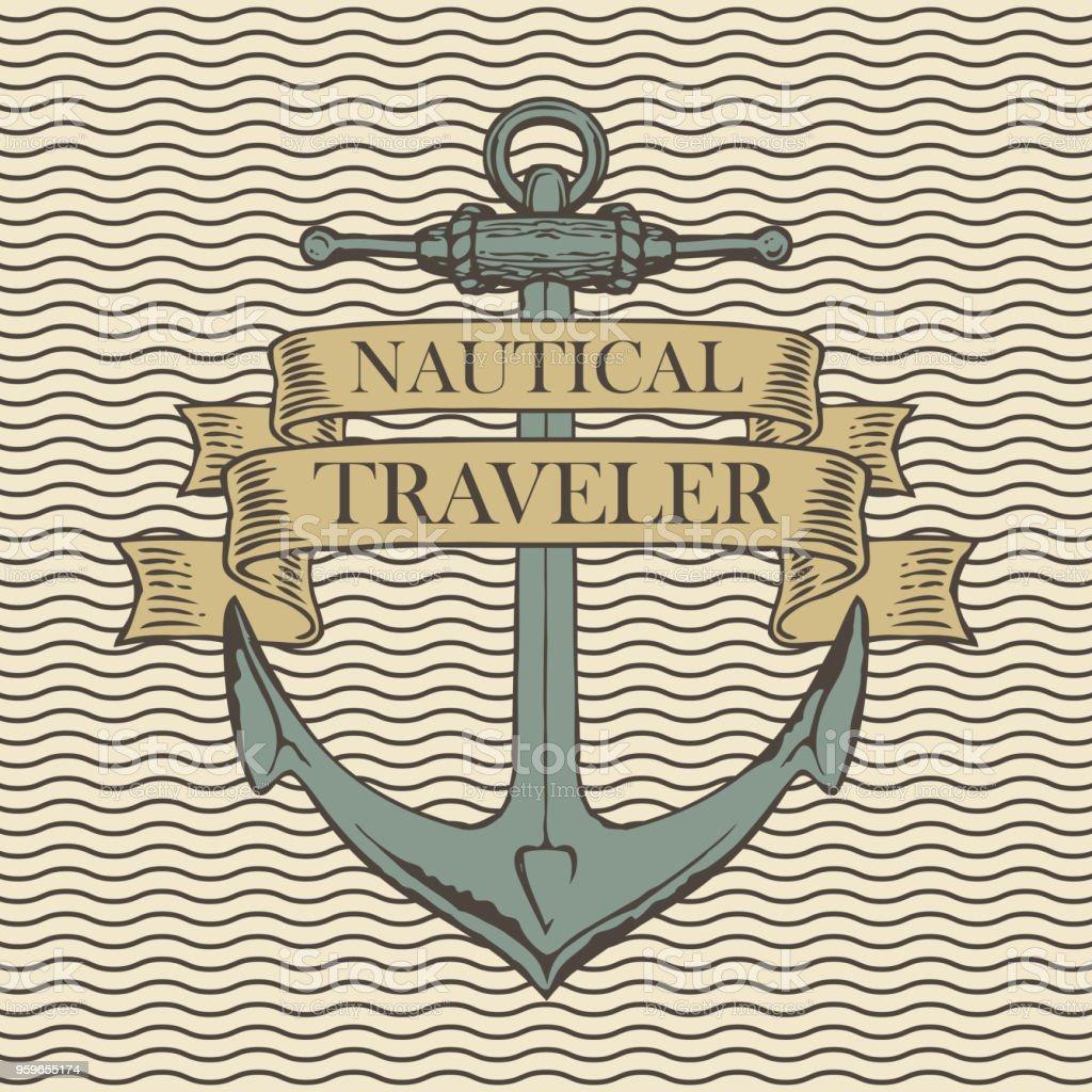 Bandera de viaje retro con ancla de barco - arte vectorial de Agencia de viajes libre de derechos