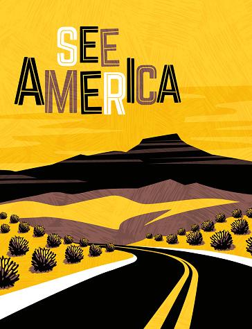 Retro travel poster design of southwest United States. For poster, banner, travel sticker. Vector illustration.