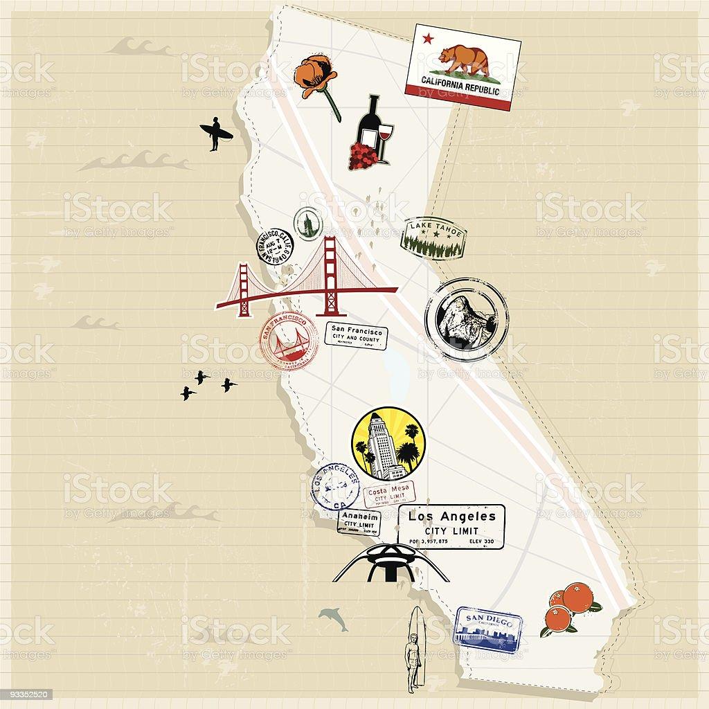 Retro Traveling of California vector art illustration