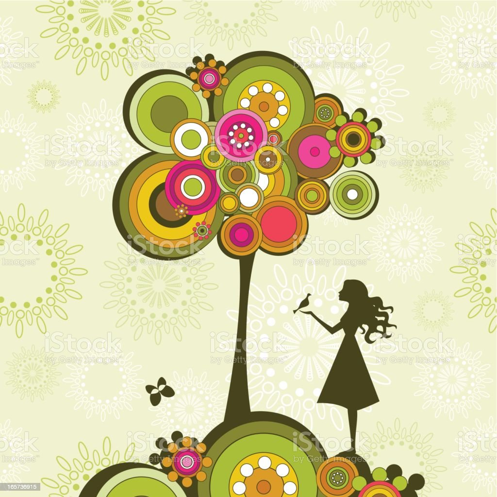 Retro tree and girl royalty-free stock vector art