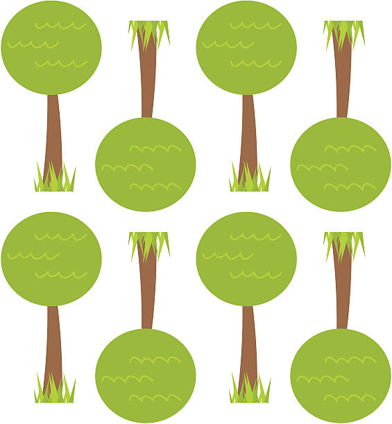 Retro Tree Seamless Wallpaper Tile Fun continuously repeating pattern with trees. Includes, Illustrator 8.0 eps file, Illustrator CS2 ai file and high-res jpeg. kathrynsk stock illustrations
