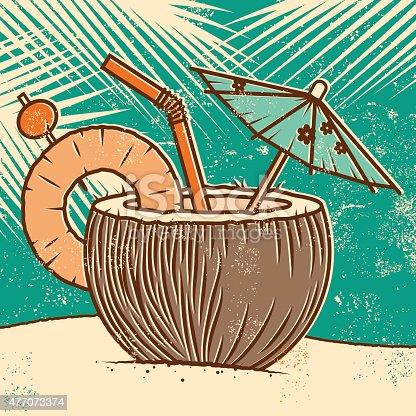 Retro Tropical Coconut Drink on the Beach Screen Print