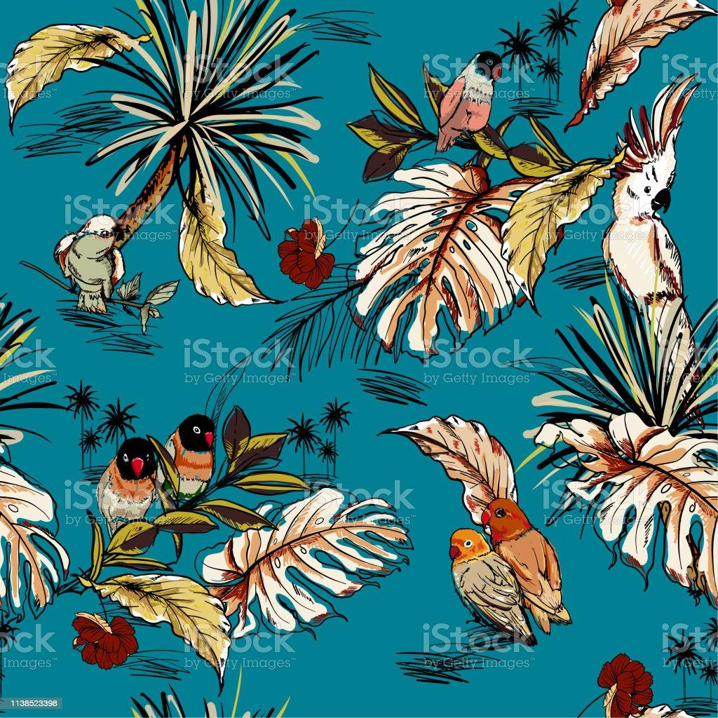 Papier Peint Avec Perroquet rétro tropical dessiné À la main croquis avec motif sans