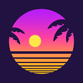 Retro style tropical sunset with palm tree silhouette and gradient background. Classic 80s design vector illustration.
