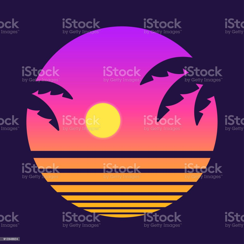 Retro tropical sunset vector art illustration