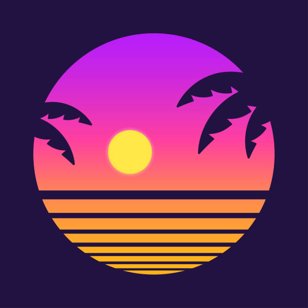 retro tropical sunset - zachód słońca stock illustrations
