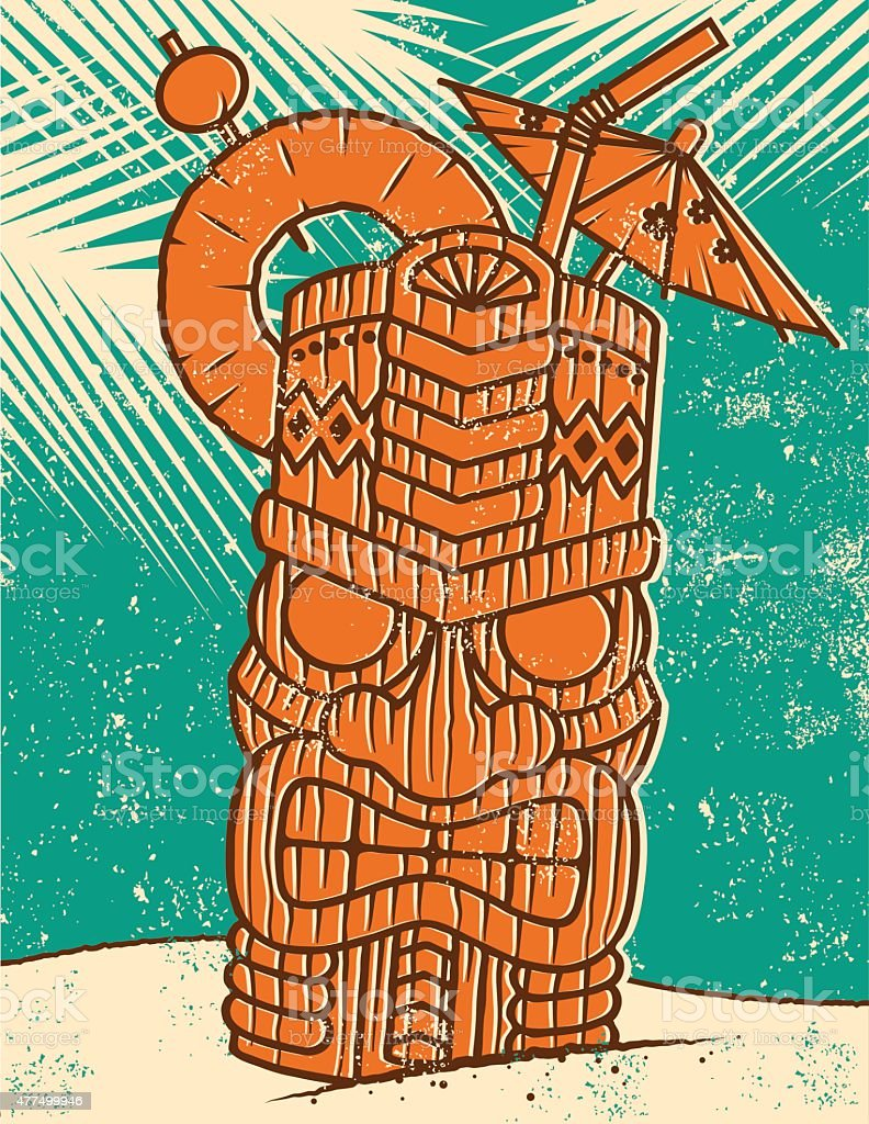 Retro Tropical Tiki Drink on the Beach Screen Print vector art illustration