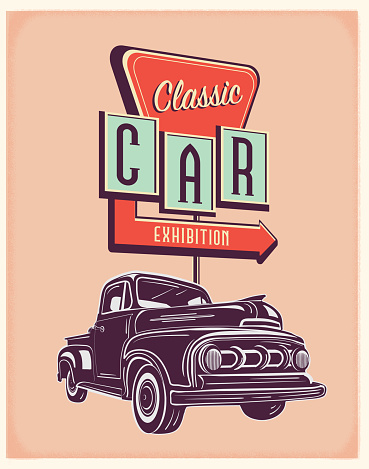 Vector illustration of a retro truck with Classic Car exhibition sign. Retro color scheme with texture around edge. Includes text design. Royalty free vector eps 10. Fully editable.