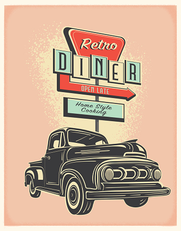 Vector illustration of a retro truck with vintage gas station sign. Retro color scheme with texture around edge. Includes text design. Royalty free vector eps 10. Fully editable.