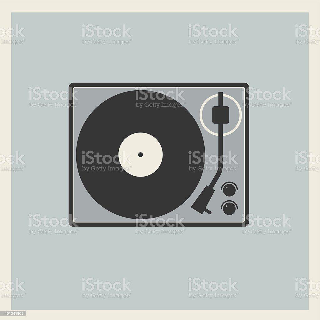 Retro turntable vinyl record player vector art illustration