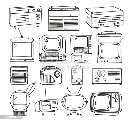 Vector retro TV and Radio doodles set.