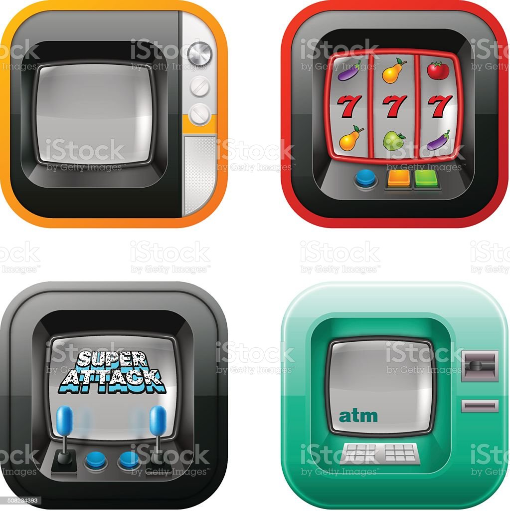 Retro tv, atm, and game machine icons vector art illustration