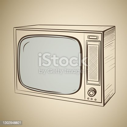 Retro TV in sketch style on a sepia background